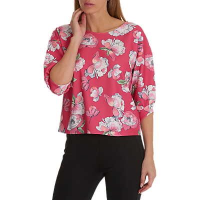 Betty & Co. Floral Print Top, Dark Pink