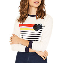 Buy Oasis Rainbow Heart and Stripe Knit Jumper, Multi Online at johnlewis.com