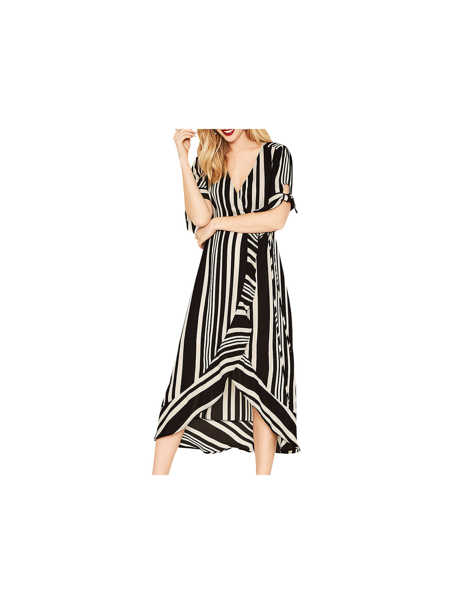 c2be753e0bf9 Buy Oasis Stripe Wrap Midi Dress, Black/Multi, , 6 Online at johnlewis ...