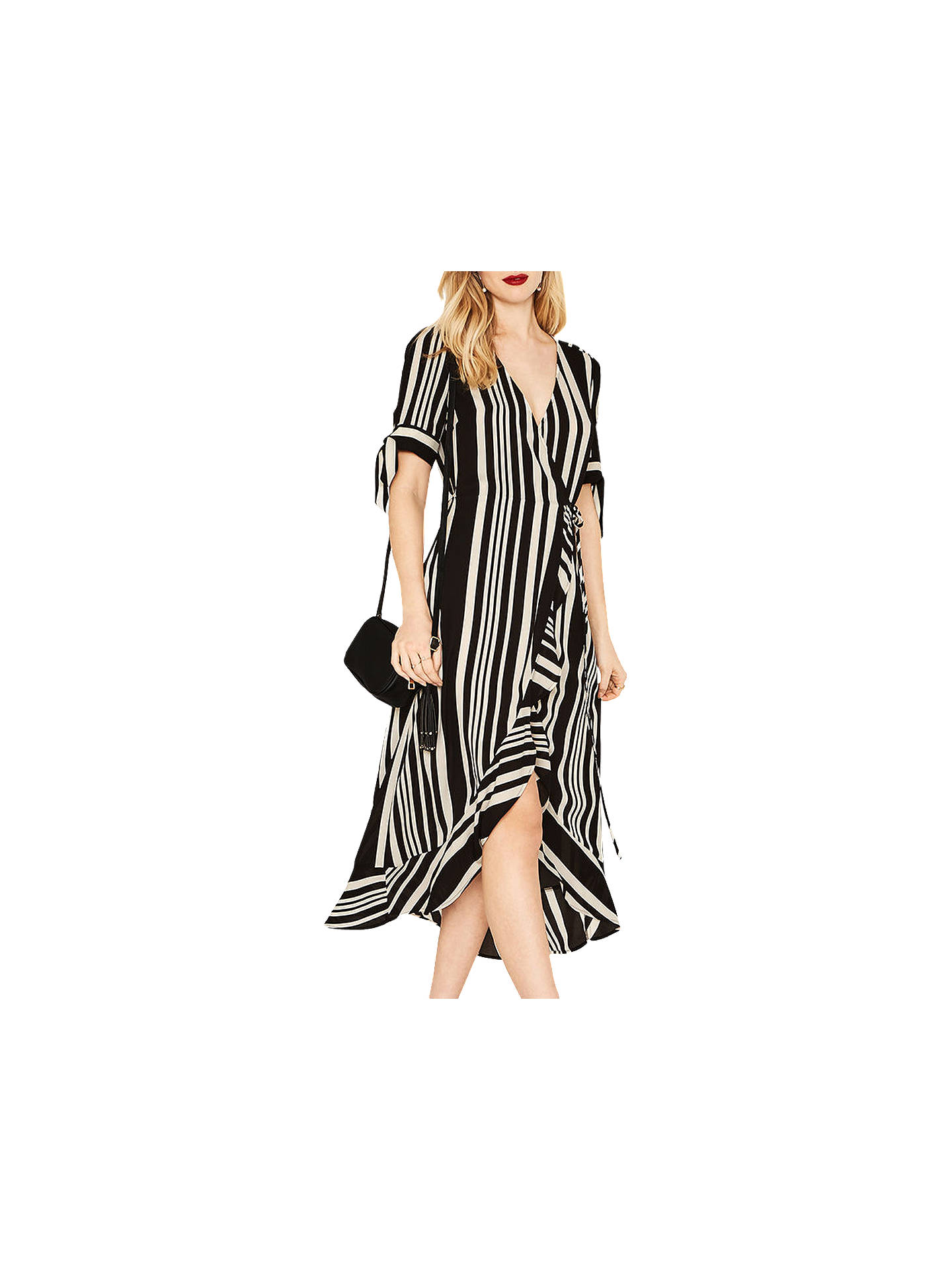 30482425d17c ... Buy Oasis Stripe Wrap Midi Dress, Black/Multi, , 6 Online at johnlewis  ...