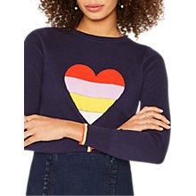 Buy Oasis Rainbow Intarsia Heart Knit Jumper, Navy Online at johnlewis.com