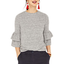 Buy Oasis 3/4 Sleeve Cosy Frill Top, Pale Grey Online at johnlewis.com