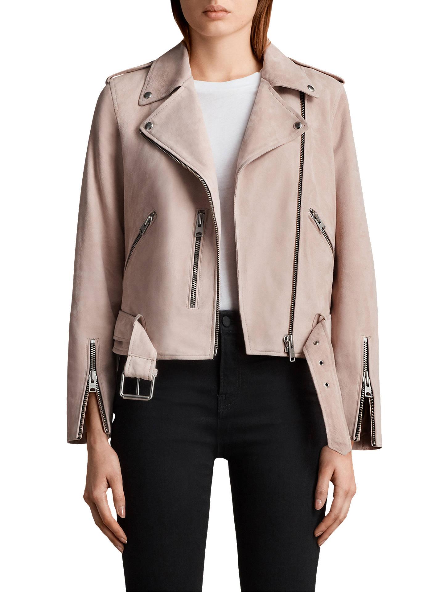 c04f28eb4c4 Buy AllSaints Suede Balfern Biker Jacket, Pale Pink, 6 Online at  johnlewis.com ...