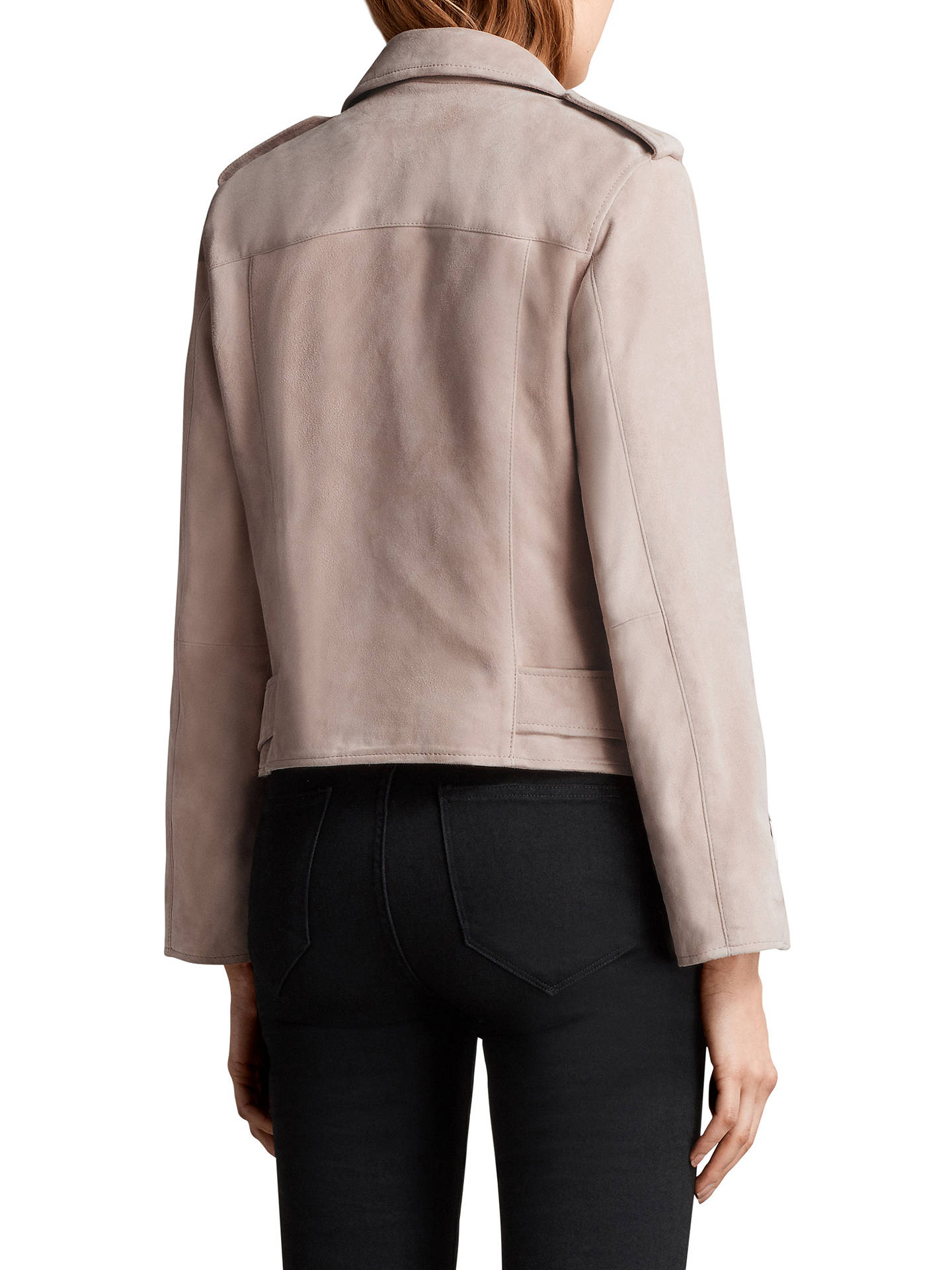 34cc0300239 ... Buy AllSaints Suede Balfern Biker Jacket, Pale Pink, 6 Online at  johnlewis.com ...