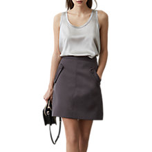 Buy Reiss Remy Silk Front Vest Top, Silver Online at johnlewis.com