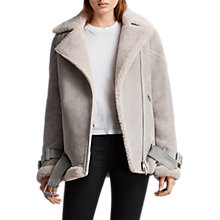 Buy AllSaints Hawley Oversized Shearling Jacket, Pebble Grey Online at johnlewis.com