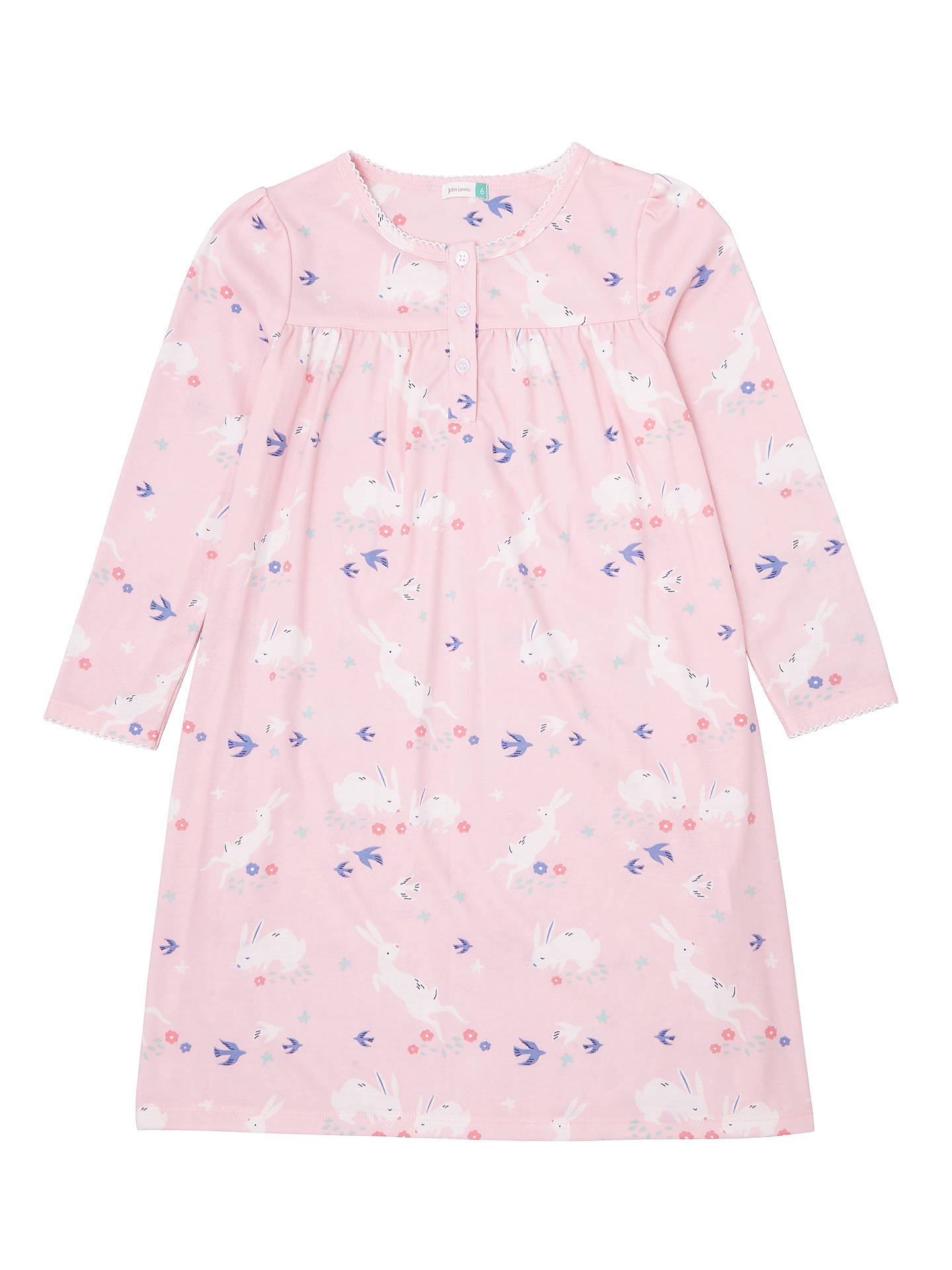 BuyJohn Lewis & Partners Girls' Bunnies Print Nightdress, Pink, 2 years Online at johnlewis.com