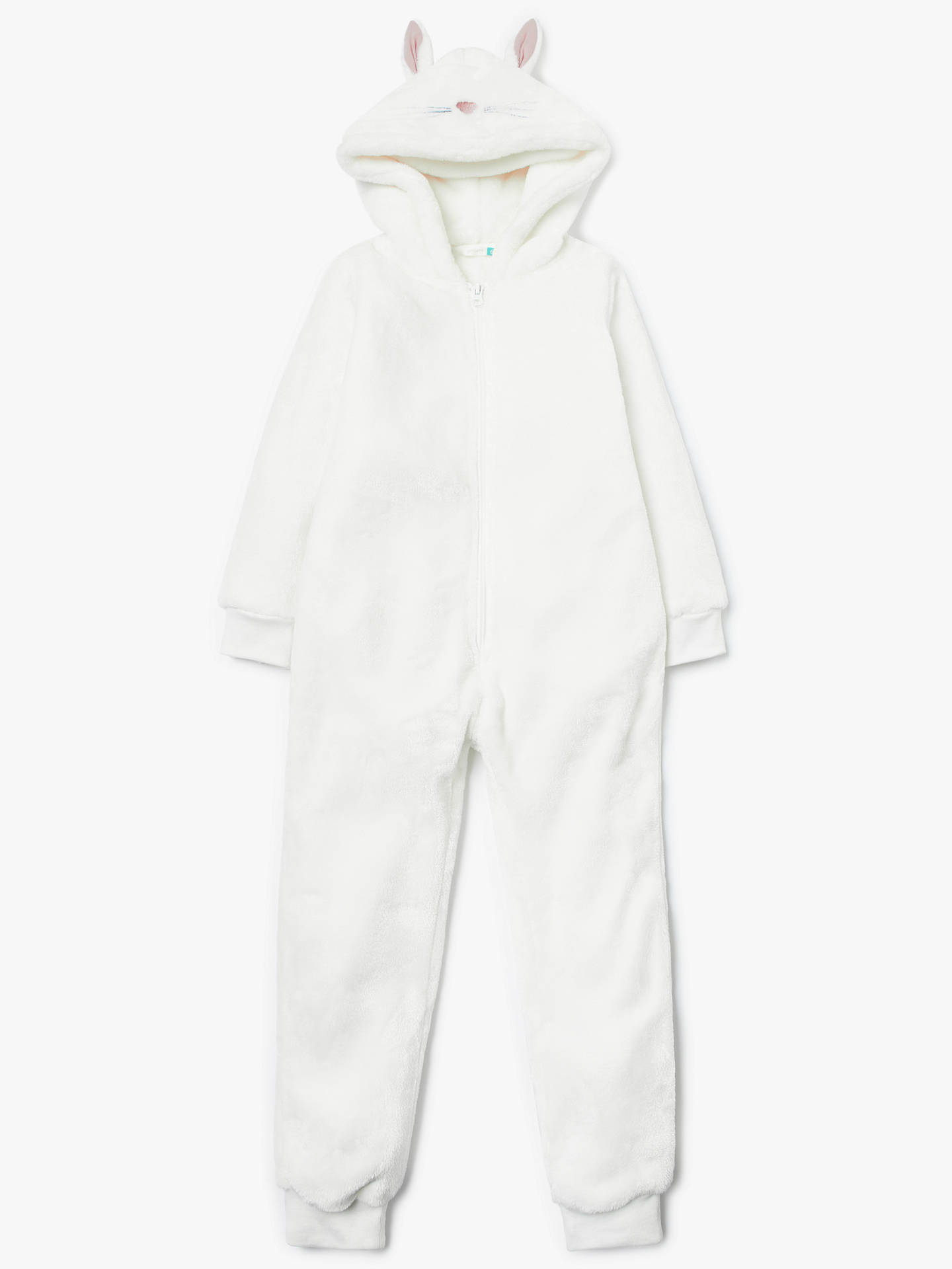 Buy John Lewis & Partners Girls' Bunny Fleece Onesie, White, 4 years Online at johnlewis.com
