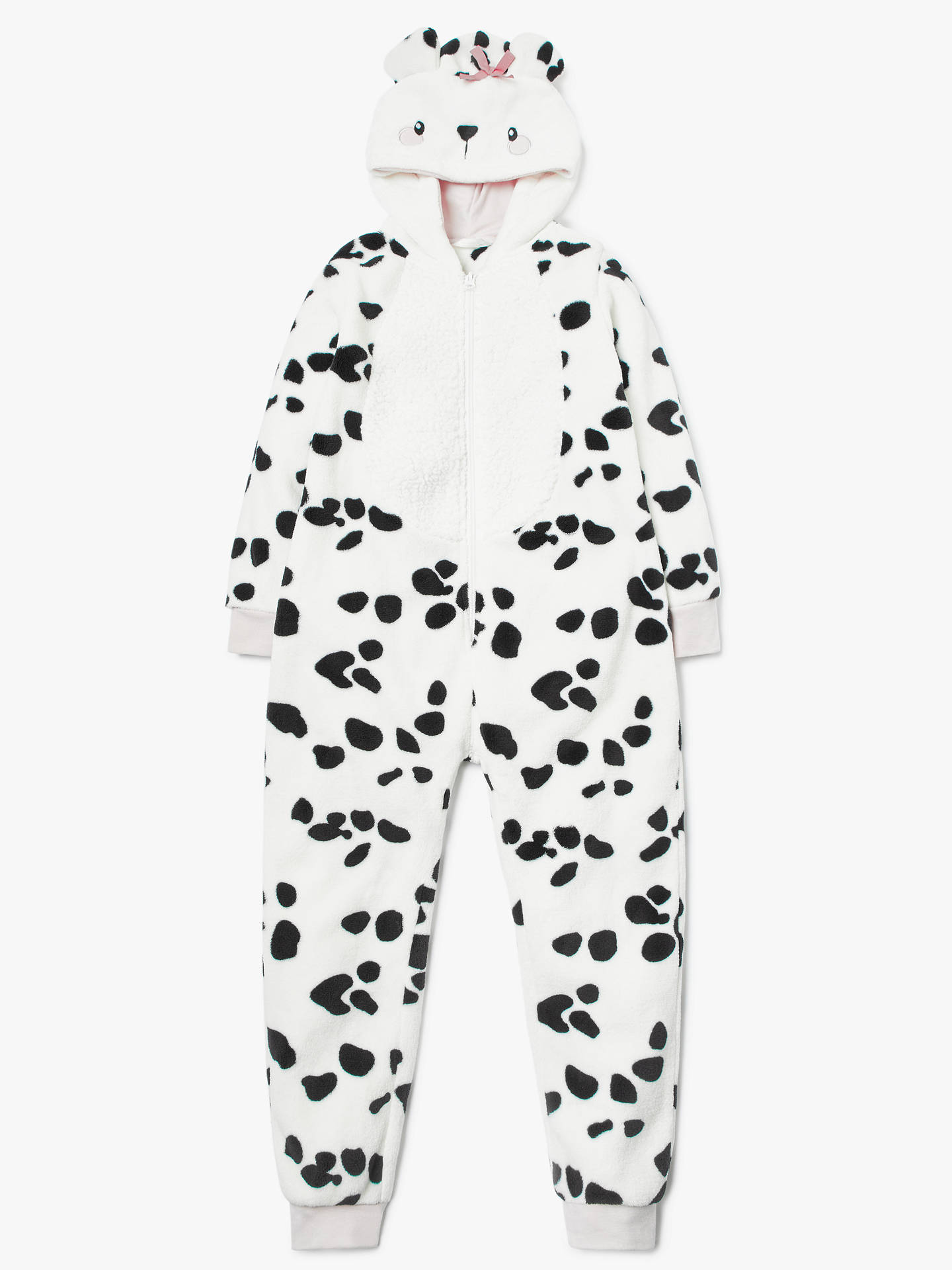BuyJohn Lewis & Partners Girls' Dalmatian Fleece Onesie, White/Black, 3 years Online at johnlewis.com