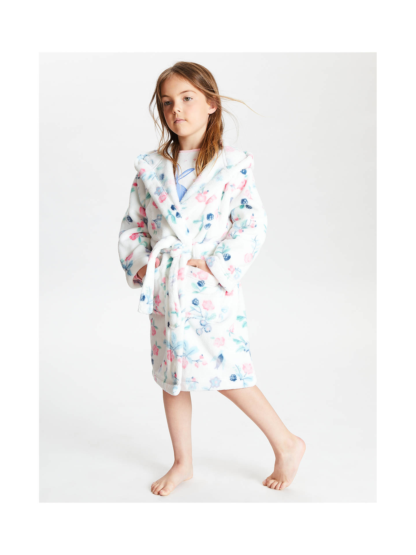 Buy John Lewis & Partners Girls' Floral Berry Robe, White, 2 years Online at johnlewis.com