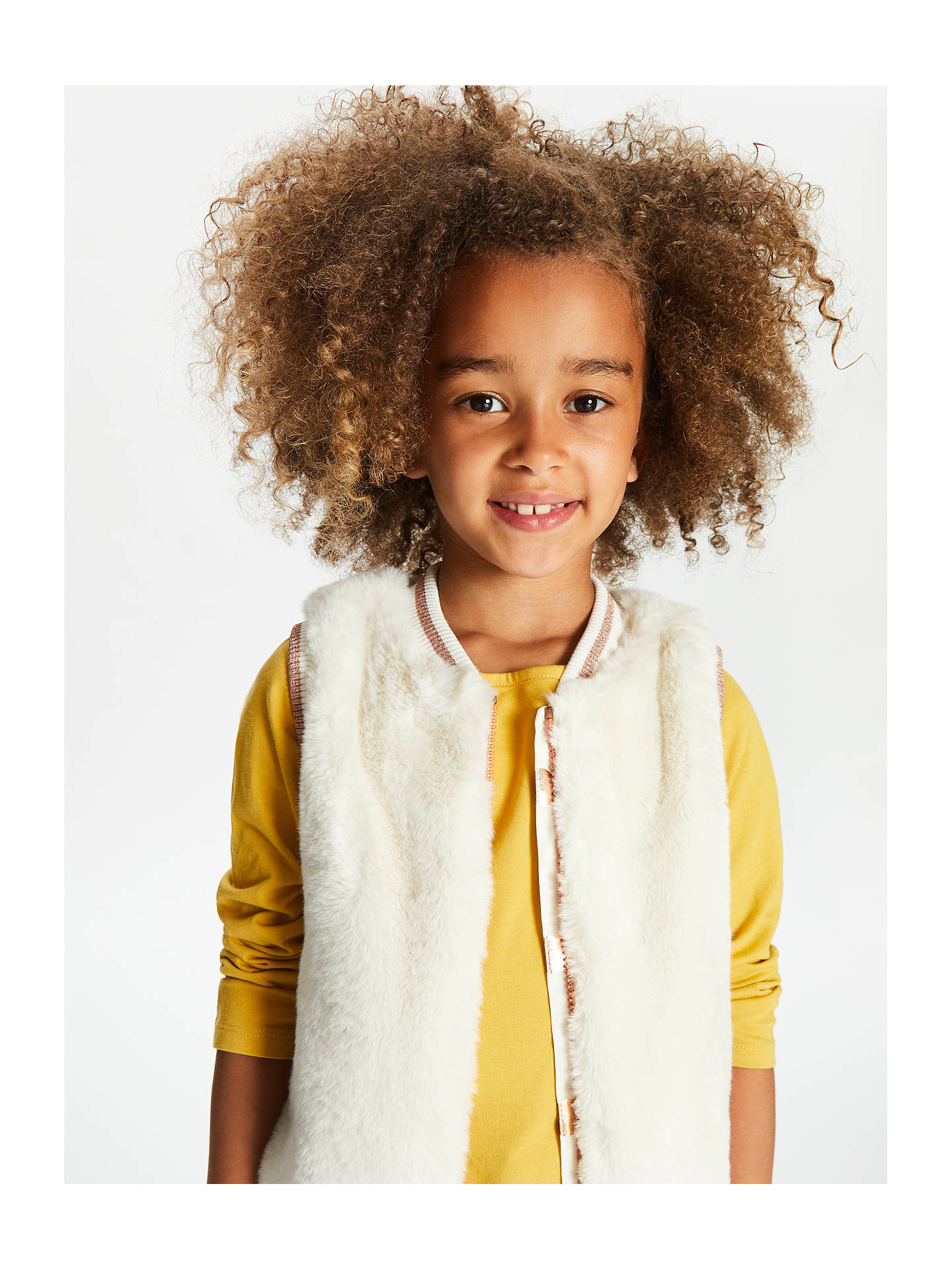BuyJohn Lewis & Partners Girls' Faux Fur Gilet, Cream, 2 years Online at johnlewis.com