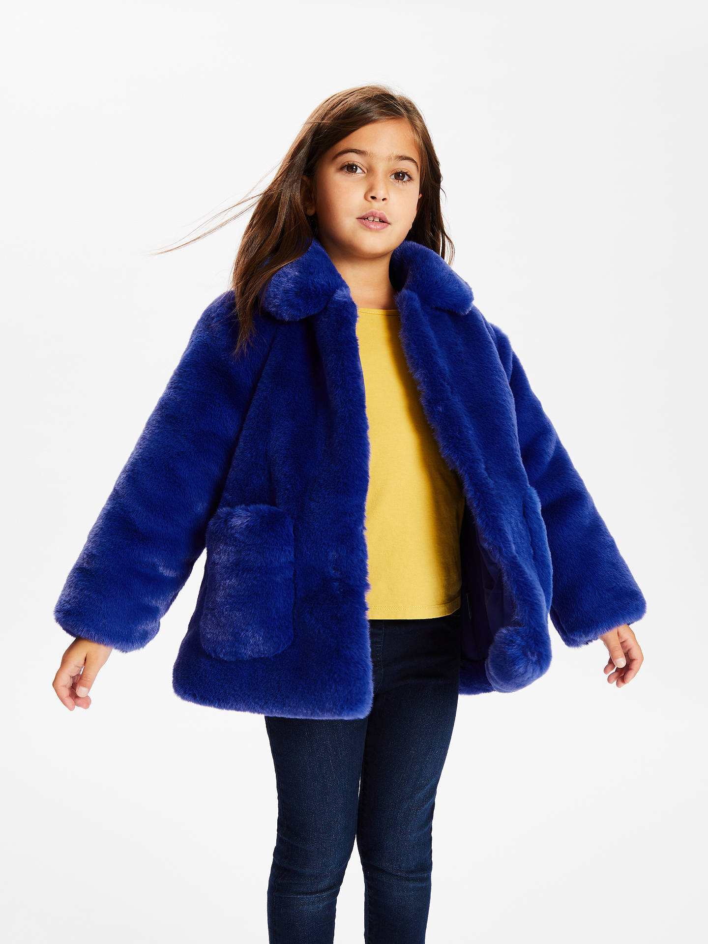 BuyJohn Lewis & Partners Girls' Faux Fur Coat, Blue, 2 years Online at johnlewis.com