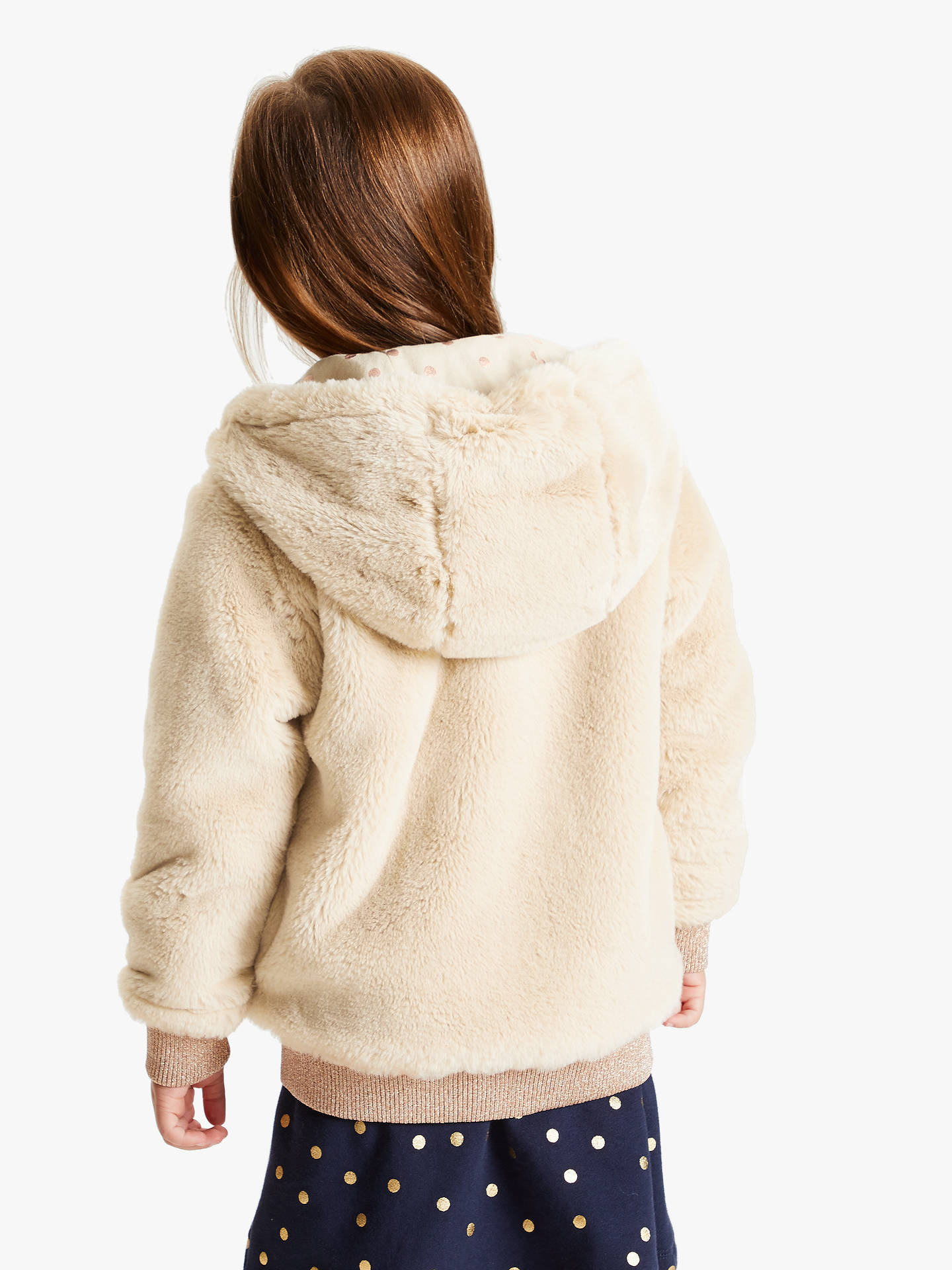 Buy John Lewis & Partners Girls' Faux Fur Bomber Jacket, Toffee, 2 years Online at johnlewis.com