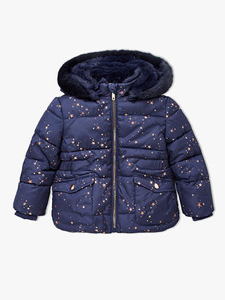 Buy John Lewis & Partners Girls' Long Star Print Coat, Navy, 10 years Online at johnlewis.com