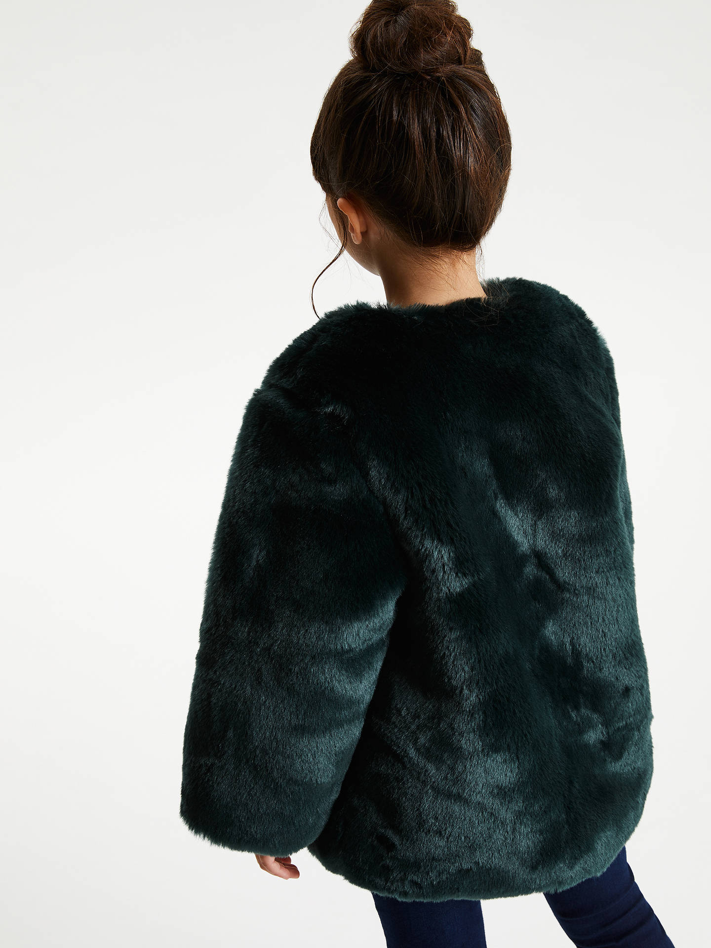Buy John Lewis & Partners Girls' Faux Fur Coat, Green, 3 years Online at johnlewis.com