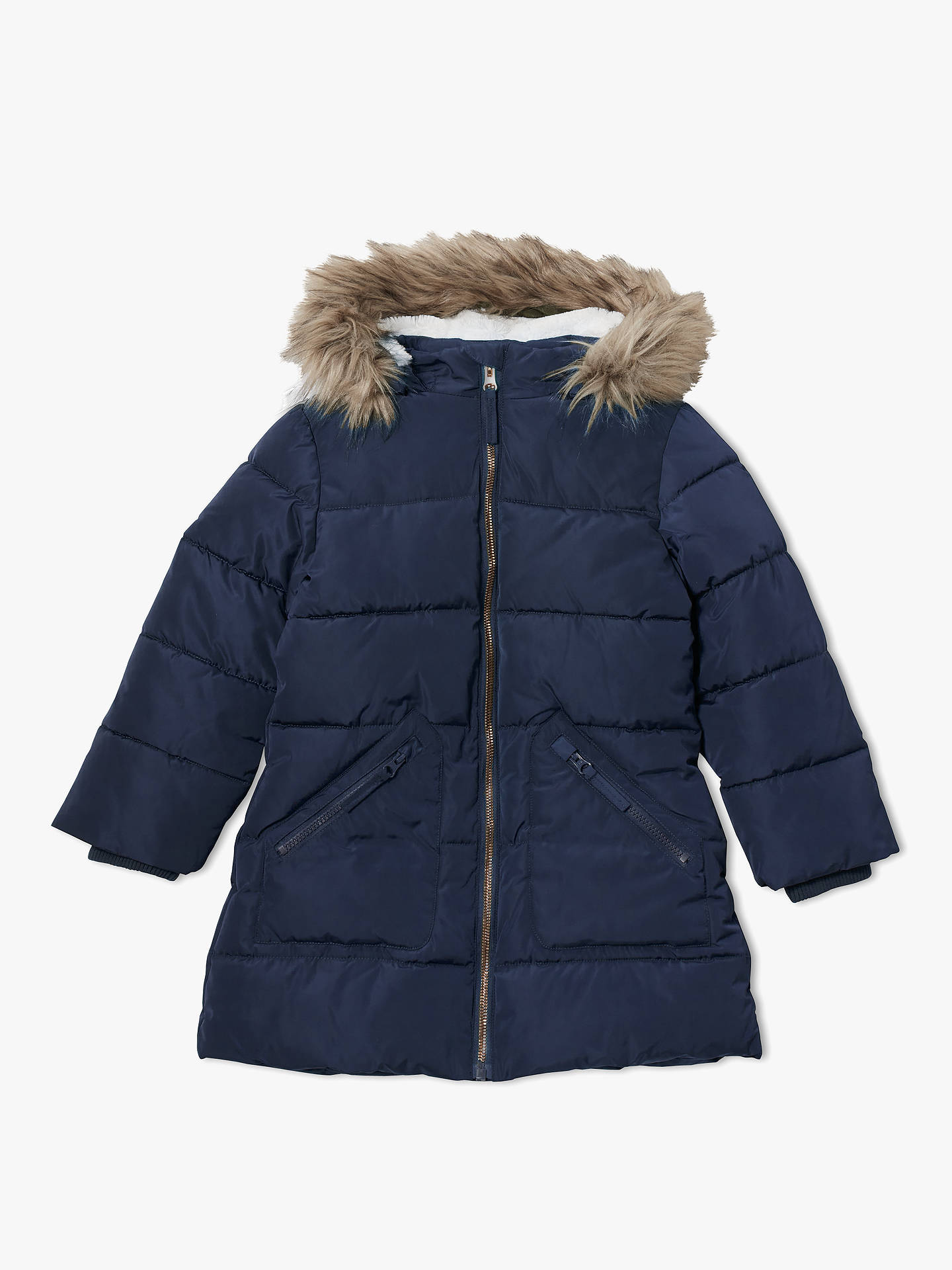 BuyJohn Lewis & Partners Girls' Padded Coat, Navy, 2 years Online at johnlewis.com