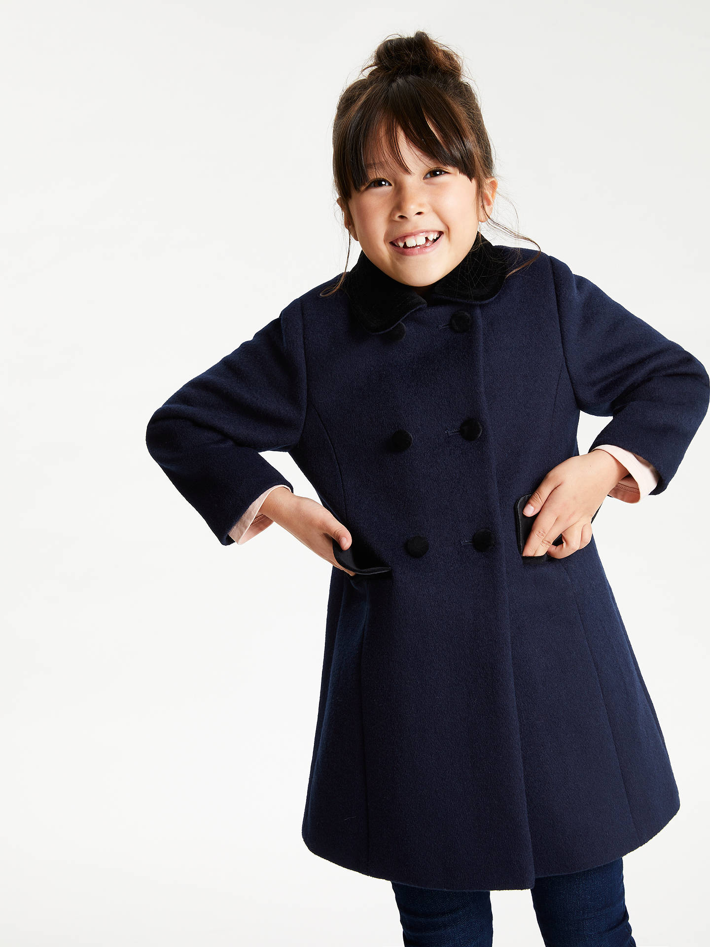 Buy John Lewis & Partners Girls' Velvet Collar Coat, Navy, 6 years Online at johnlewis.com