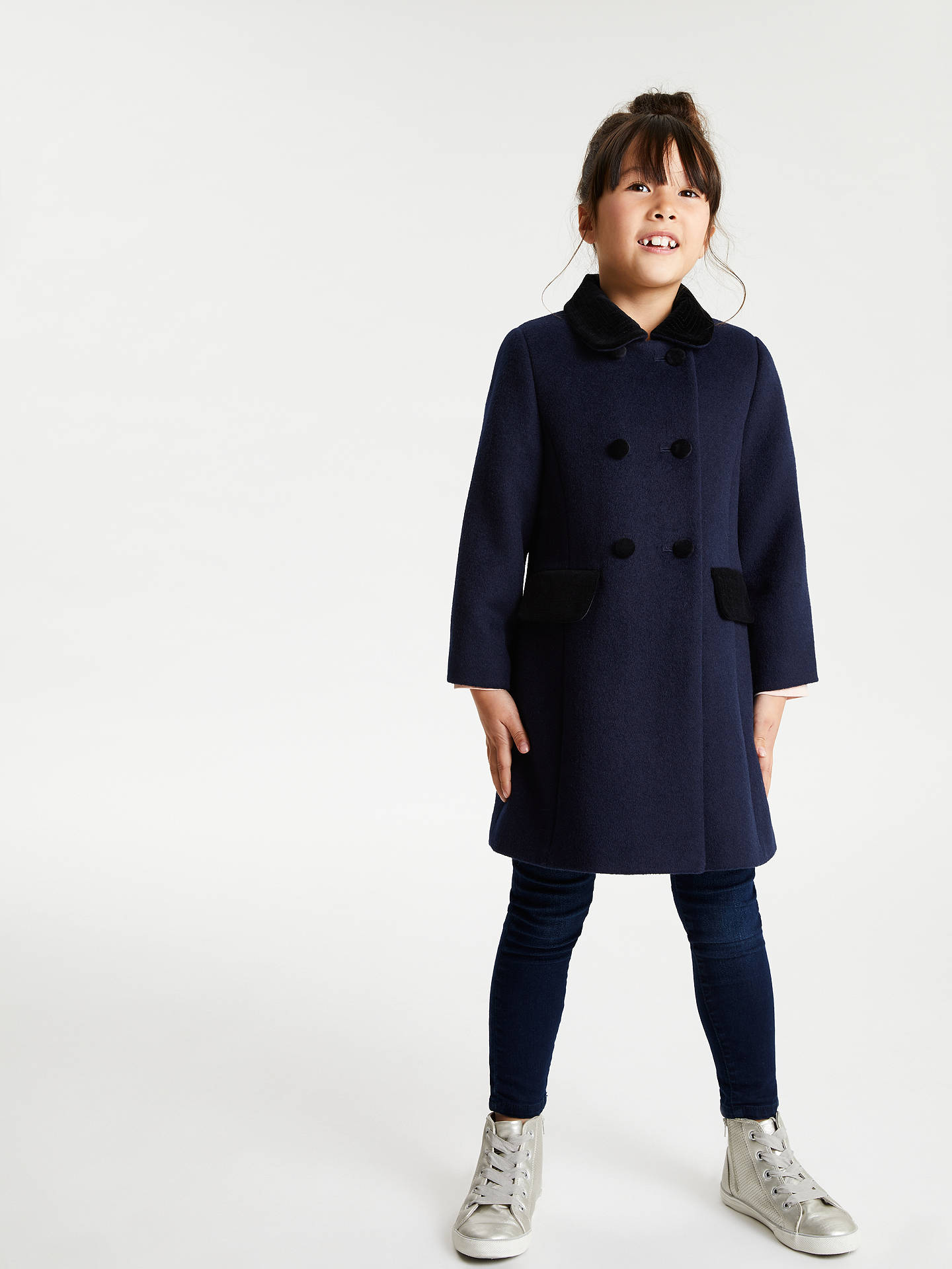 Buy John Lewis & Partners Girls' Velvet Collar Coat, Navy, 11 years Online at johnlewis.com