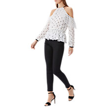 Buy Coast Jemima Spot Mesh Top, Black/White Online at johnlewis.com