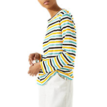 Buy Jigsaw Linen Stripe Top, Apricot Online at johnlewis.com