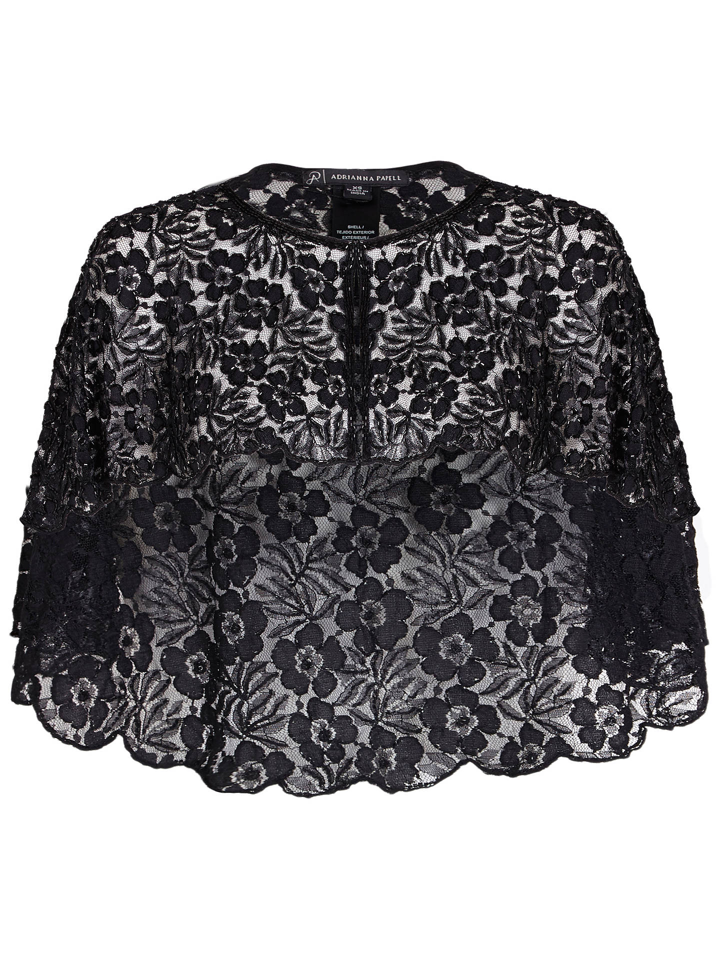 dd333d6857 ... Buy Adrianna Papell Bead Lace Cover Up, Black, XS Online at  johnlewis.com