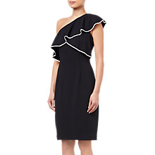 Buy Adrianna Papell Crepe One Shoulder Dress, Black/Ivory Online at johnlewis.com