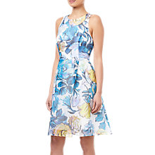 Buy Adrianna Papell Floral Printed Ribbed Organza Dress, Blue/Multi Online at johnlewis.com
