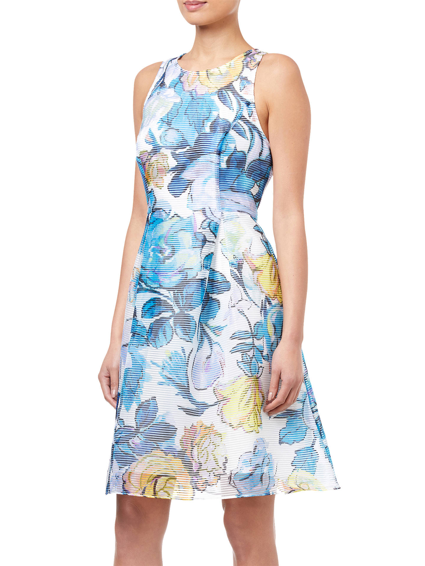 BuyAdrianna Papell Floral Printed Ribbed Organza Dress, Blue/Multi, 10 Online at johnlewis.com