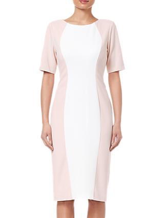 Adrianna Papell Crepe Colorblock Dress, Blush/Ivory