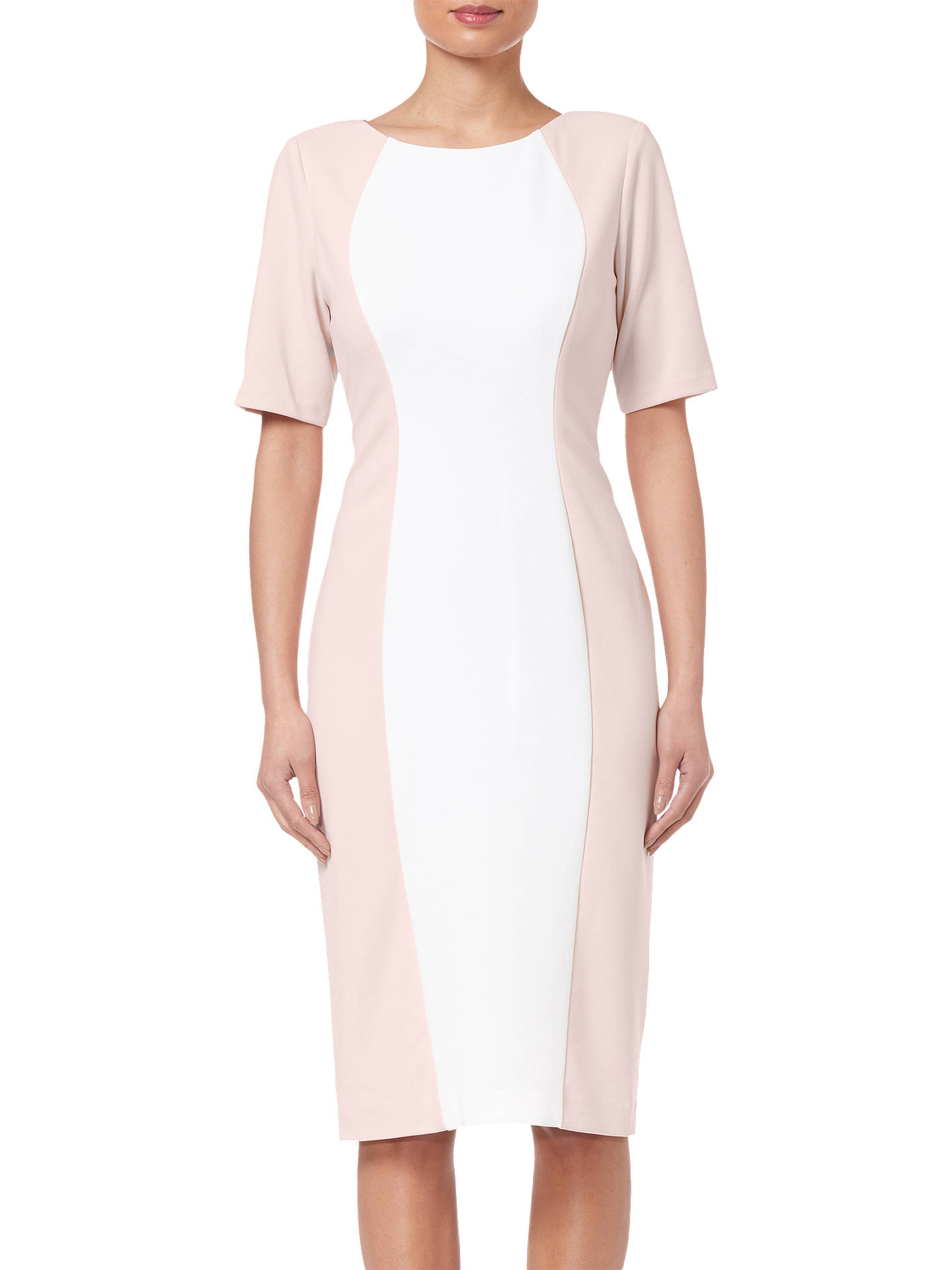BuyAdrianna Papell Crepe Colorblock Dress, Blush/Ivory, 8 Online at johnlewis.com