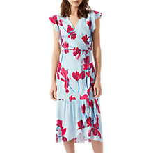Buy Jigsaw Cyclamen Floral Wrap Dress, Blue Wave Online at johnlewis.com