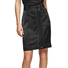 Buy Reiss Silk Stitch Skirt, Black Online at johnlewis.com