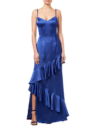 Buy Adrianna Papell Ruffled Satin Dress, Blue Violet, 6 Online at johnlewis.com