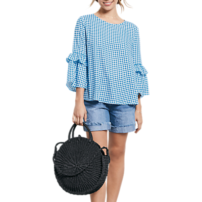 hush Antibes Top, Gingham French Blue/White