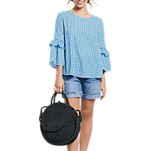 Buy hush Antibes Top, Gingham French Blue/White Online at johnlewis.com