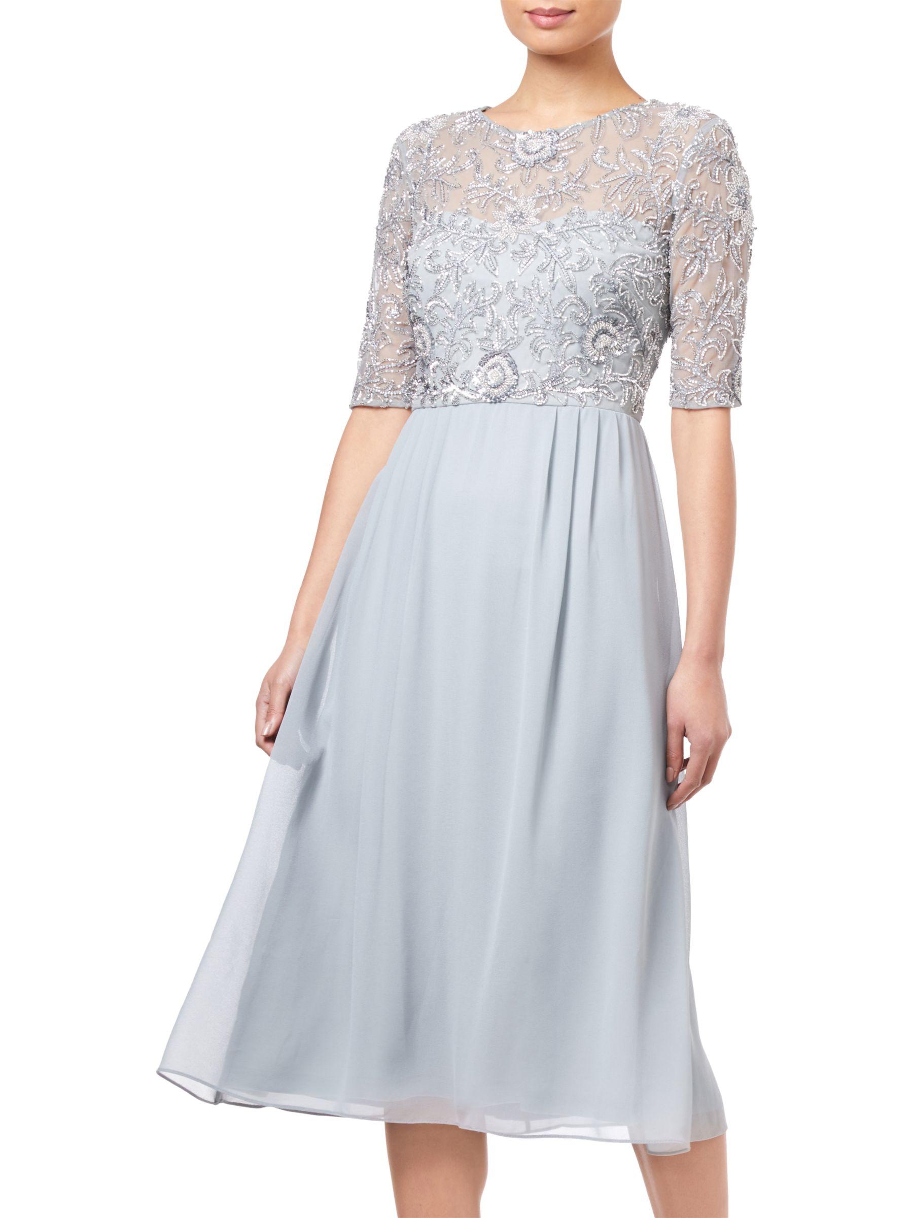 Adrianna Papell Beaded Midi Dress, Blue Mist at John Lewis
