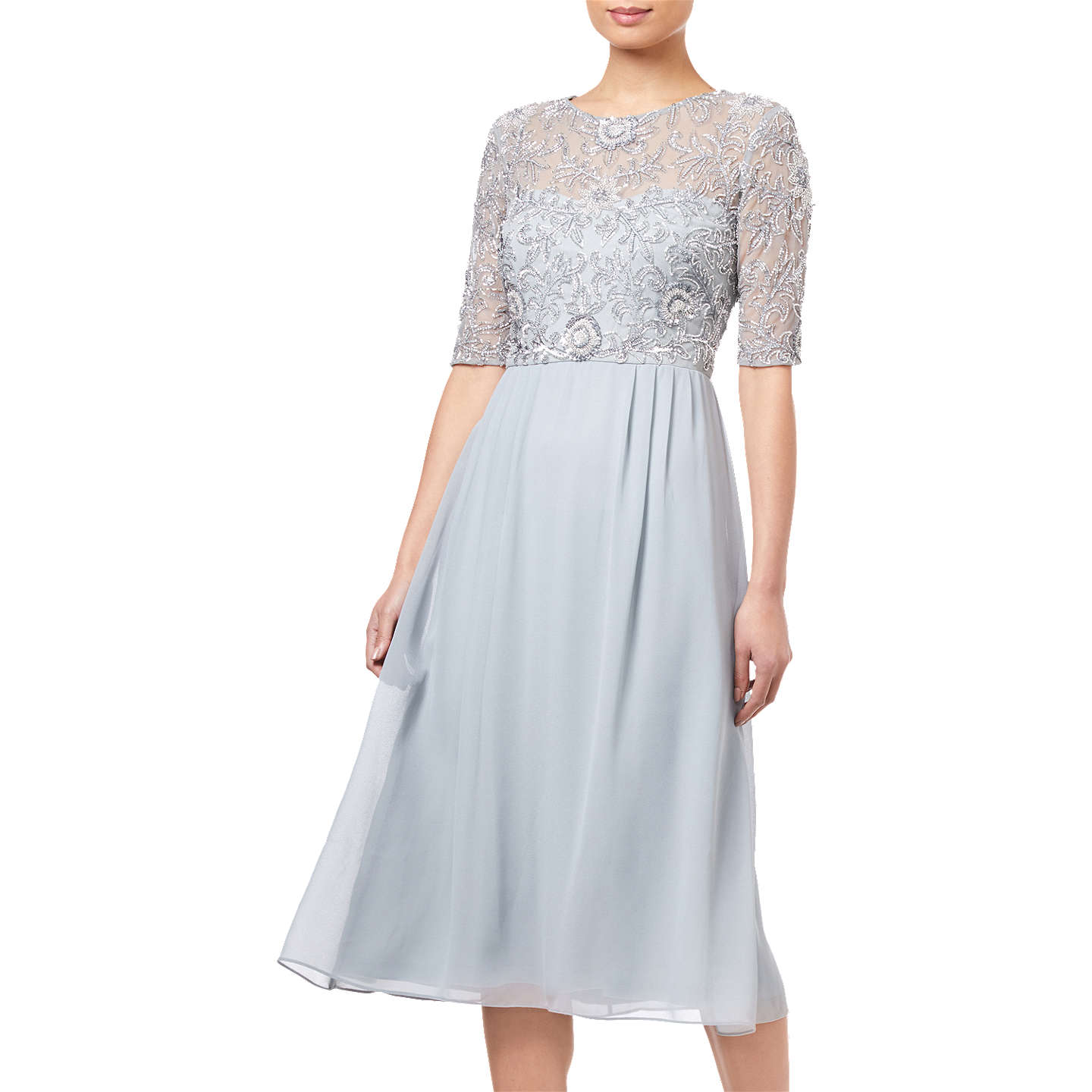Adrianna Papell Beaded Midi Dress, Blue Mist at John Lewis