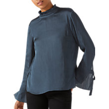Buy Jigsaw Ruffle Neck Top, Gravel Online at johnlewis.com