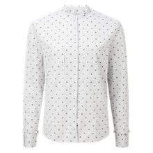 Buy Jigsaw Spot Grandad Collar Shirt, Grey Online at johnlewis.com