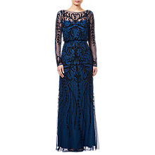 Buy Adrianna Papell Beaded Pattern Long Dress, Deep Blue Online at johnlewis.com