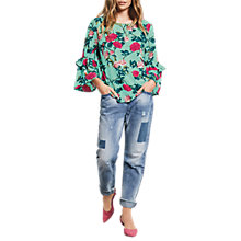 Buy hush Antibes Ornate Print Blouse, Green Online at johnlewis.com