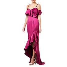 Buy Adrianna Papell Ruffled Satin Dress, Red Plum Online at johnlewis.com