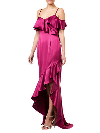 Buy Adrianna Papell Ruffled Satin Dress, Red Plum, 6 Online at johnlewis.com