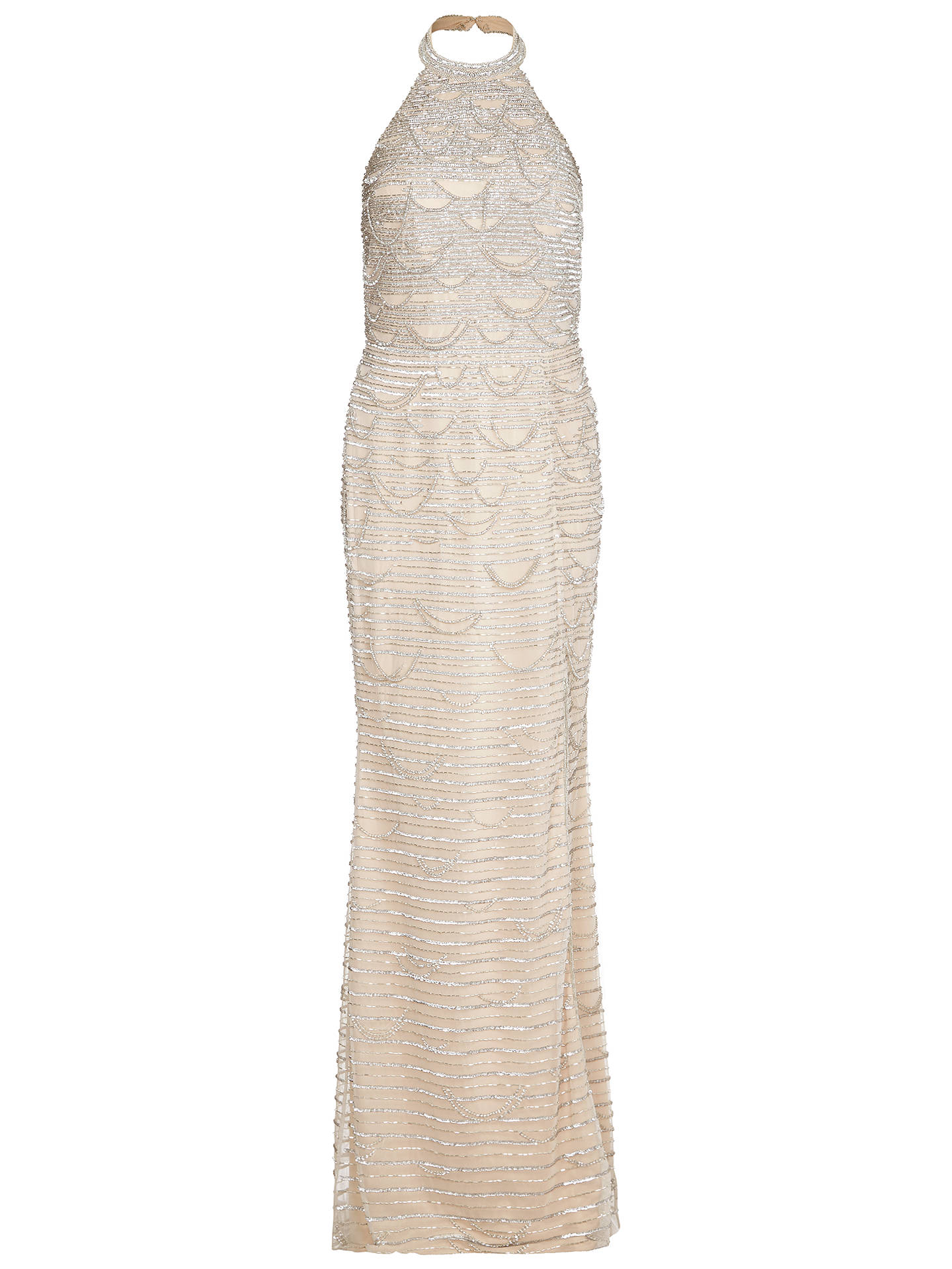 BuyAdrianna Papell Beaded Long Dress, Silver/Nude, 14 Online at johnlewis.com