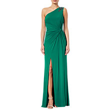 Buy Adrianna Papell Jeweled One-Shoulder Draped Gown, Vivid Malachite Online at johnlewis.com