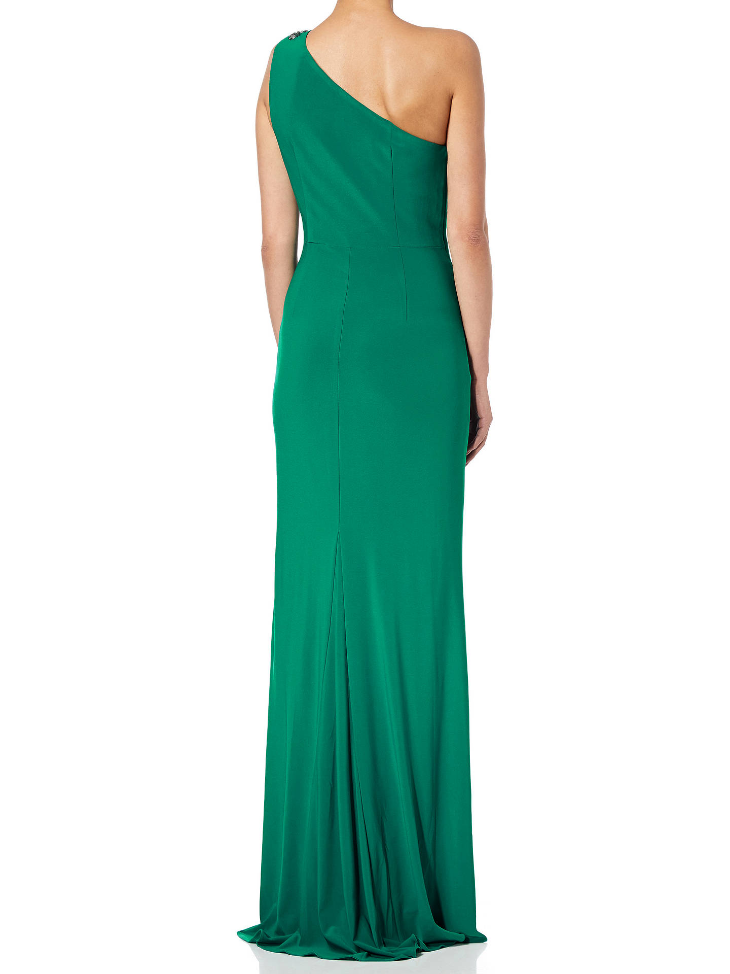 BuyAdrianna Papell Jeweled One-Shoulder Draped Gown, Vivid Malachite, 6 Online at johnlewis.com