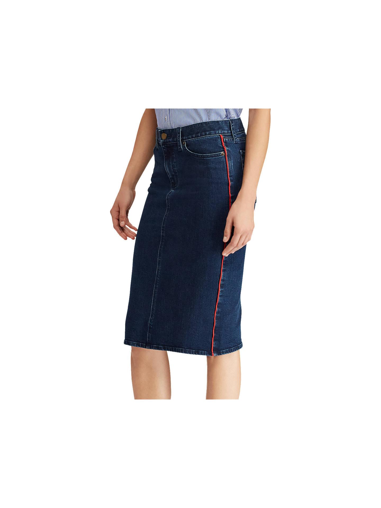 d1aeee3182 Lauren Ralph Lauren Daniela Denim Skirt, Nautical Blue at John Lewis ...