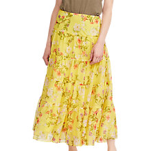 Buy Lauren Ralph Lauren Moriah Floral Georgette Maxi Skirt, Yellow Online at johnlewis.com