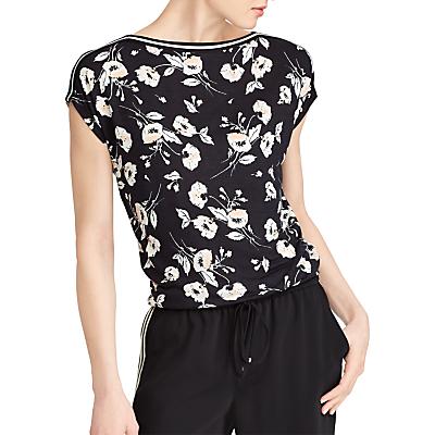 Lauren Ralph Lauren Floral Jersey Top, Black/Peach