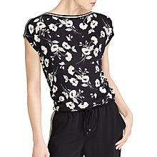 Buy Lauren Ralph Lauren Floral Jersey Top, Black/Peach Online at johnlewis.com